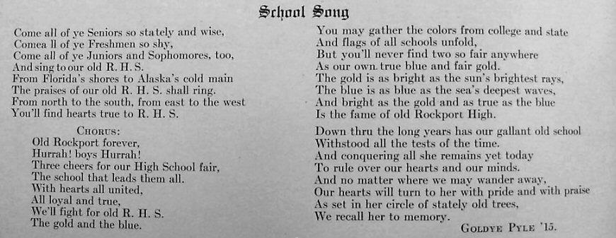 School Song from 1915